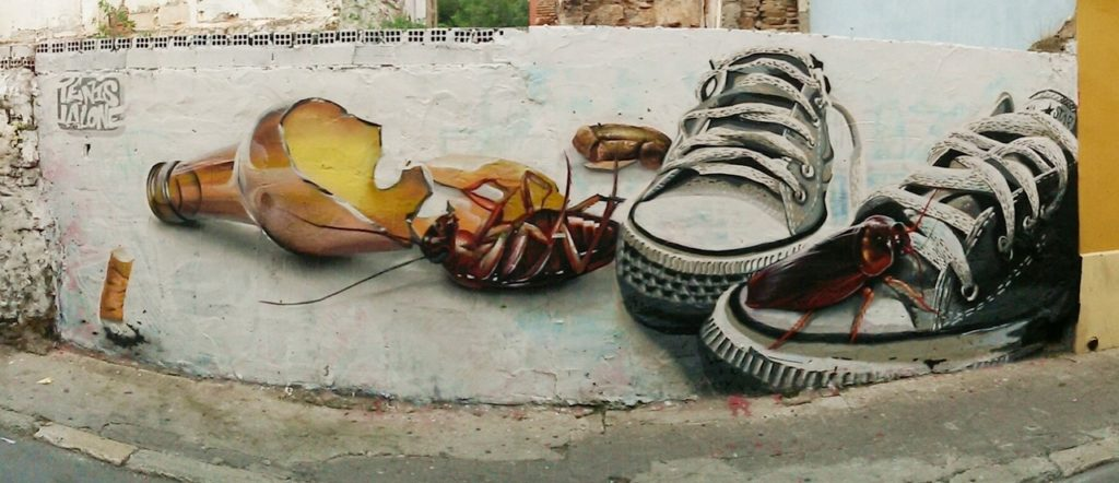 Cockroaches and shoes Street Art, MAUS Project SOHO, Street Art Malaga Lagunillas