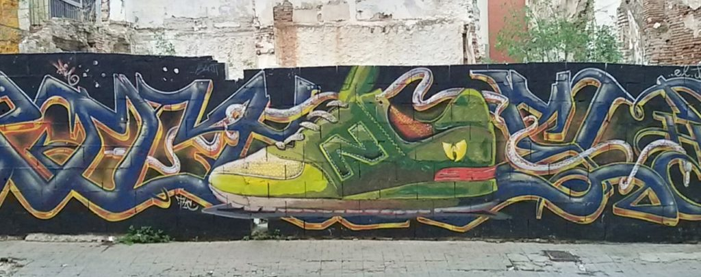 Sport shoes Street Art, MAUS Project SOHO, Street Art Malaga Lagunillas
