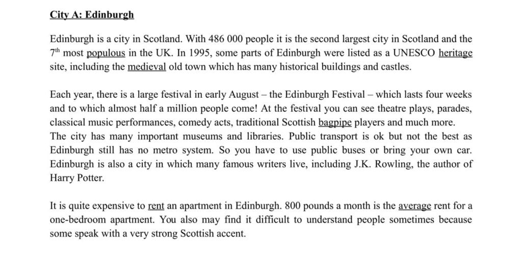 ESL Lesson Materials - Text About Edinburgh