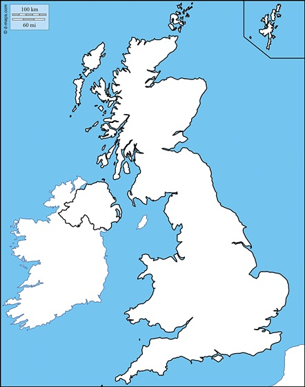ESL Lesson Materials - Blank Map of UK