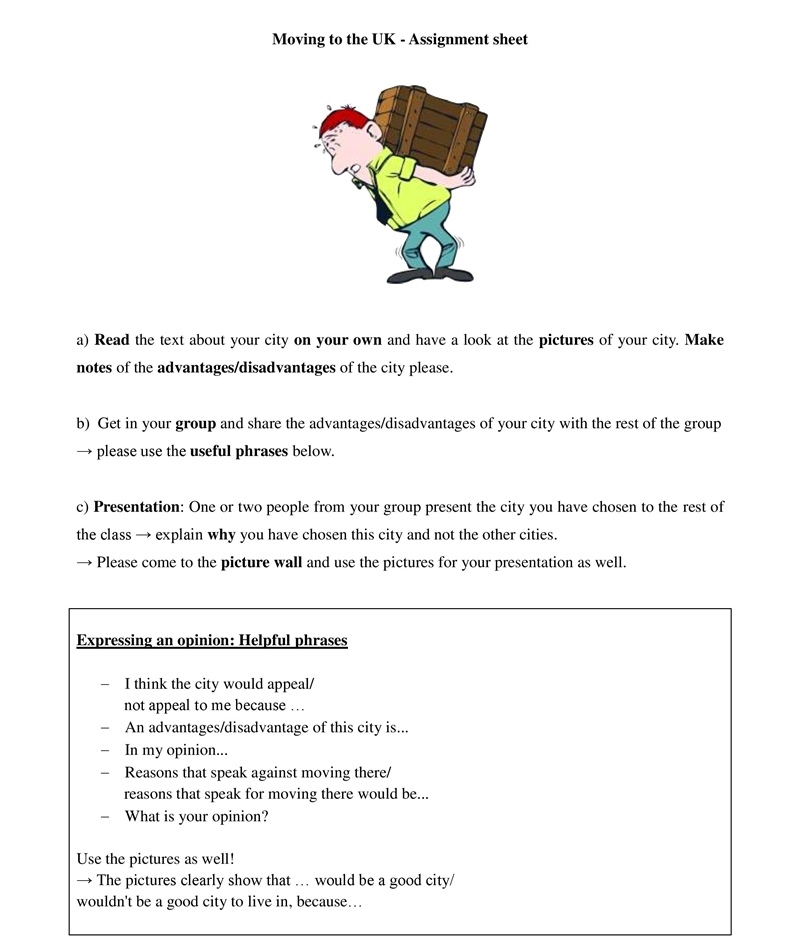 Moving to the Uk assignment sheet • ESL Lesson Materials