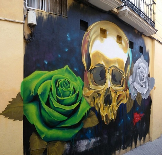Golden Skull Street Art, MAUS Project SOHO, Street Art Malaga Lagunillas