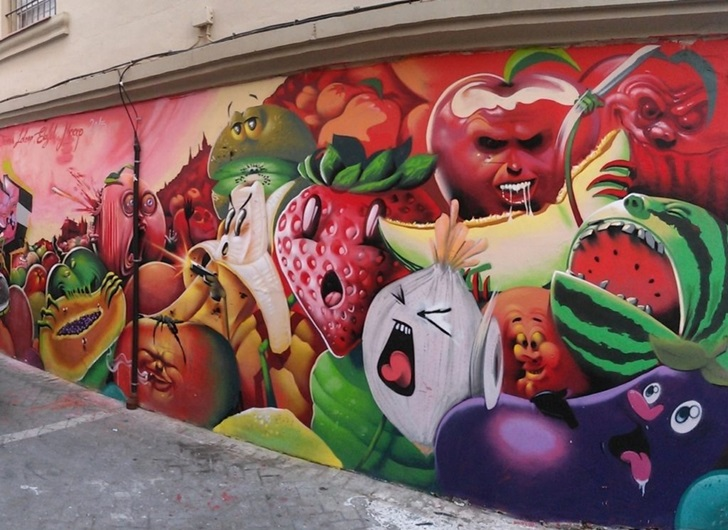Human Vegetables Street Art, MAUS Project SOHO, Street Art Malaga Lagunillas