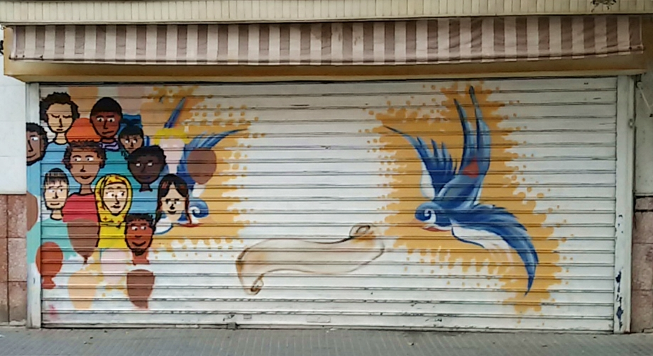 Hummingbird Street Art, MAUS Project SOHO, Street Art Malaga Lagunillas